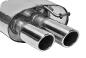 Endschalldämpfer mit Doppel-Endrohr, 20° schräg, mit Lippe RH 2 x Ø 76 mm