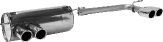 Endschalldämpfer mit Doppel-Endrohr LH 2 x Ø 76 mm eingerollt 20° schräg ohne M-Heckschürze