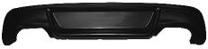 Heckschürzen-Ansatz, lackierfähig, mit Ausschnitt für 2x Doppel-Endrohr, nur passend für Fahrzeuge mit M-Heckstoßstange. Ist bei Montage der Quattro-Anlagen mit zu verwenden.