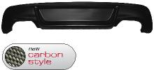 Heckschürzen-Ansatz, Carbon Style, lackierfähig, mit Ausschnitt für 2x Doppel-Endrohr, nur passend für Fahrzeuge mit M-Heckstoßstange. Ist bei Montage der Quattro-Anlagen mit zu verwenden. Nur passend für E82 Coupé mit M-Heckschürze