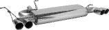 Endschalldämpfer mit Doppel-Endrohr LH+RH 2 x Ø 76 mm 20° schräg geschnitten