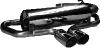 Endschalldämpfer querliegend mit 2 Endrohren Ø 76 mm Ausgang mittig
