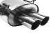 Endschalldämpfer mit Doppel-Endrohr 2 x Ø 76 mm 20° schräg geschnitten, Ausgang mittig.