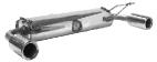 Endschalldämpfer querliegend mit 2 seitlichen Endrohren Ø 90 mm RH + LH
