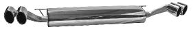 Endschalldämpfer mit Doppel-Endrohr Oval, 2x oval 110x70 mm LH + RH