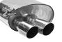 Endschalldämpfer mit Doppel-Endrohr 20° schräg geschnitten 2 x Ø 76 mm LH links