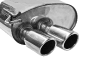 Endschalldämpfer mit Doppel-Endrohr 20° schräg mit Lippe 2 x Ø 76 mm RH rechts
