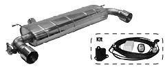 Endschalldämpfer mit Einfach-Endrohr 1x Ø 100 mm LH+RH (im RACE Look), mit Abgasklappe inkl. Kit 1)