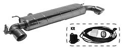 Endschalldämpfer mit Einfach-Endrohr 1x Ø 100 mm LH+RH (im RACE Look), 30° schräg geschnitten, mit Abgasklappe inkl. Kit 1)
