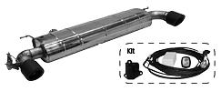 Endschalldämpfer mit Einfach-Endrohr Carbon 1x Ø 100 mm LH+RH (im RACE Look), 30° schräg geschnitten, mit Abgasklappe inkl. Kit 1)