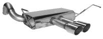 Endschalldämpfer querliegend mit Doppel-Endrohr 2 x Ø 76 mm, 20° schräg Ausgang mittig
