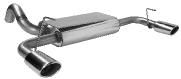 Endschalldämpfer querliegend mit Einfach-Endrohr Oval 110 x 70 mm Ausgang LH + RH