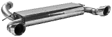 Endschalldämpfer querliegend mit Einfach-Endrohr 1 x Ø 100 mm (im RACE-Look), 30° schräg geschnitten, Ausgang LH + RH