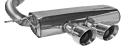 Endschalldämpfer mit Doppel-Endrohr mittig Ø 100 mm 30° schräg geschnitten (im RACE Look)