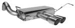 Endschalldämpfer querliegend mit Doppel-Endrohr 2 x Ø 76 mm, 20° schräg, Ausgang mittig