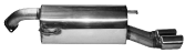 Endschalldämpfer mit Doppel-Endrohr, 2 x Ø 76 mm, 20° schräg mit Lippe