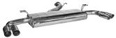 Endschalldämpfer mit doppel Ausgang 20° schräg geschnitten 2 x Ø 63 mm LH + RH