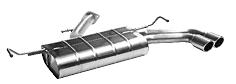 Endschalldämpfer mit Doppel-Endrohr 2 x Ø 76 mm 20° schräg geschnitten mit Lippe
