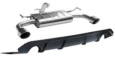Endschalldämpfer mit Einfach-Endrohr 1x Ø100 mm LH+RH, 30° schräg (im RACE Look) und Heckschürzeneinsatz