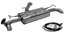 Endschalldämpfer mit 1x Ausgang Ø 63 mm LH+RH mit Abgasklappe