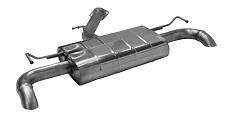 Endschalldämpfer mit 1x Ausgang Ø 63 mm LH+RH