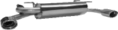 Endschalldämpfer mit 2 Endrohren oval 120 x 80 mm Ausgang seitlich