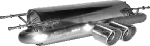 Endschalldämpfer mit Doppel-Endrohr 2 x Ø 90 mm mit Lippe 20°schräg geschnitten Ausgang mittig MX5 NC incl. Facelift