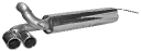 Endschalldämpfer mit Doppel-Endrohr mit Lippe 20° schräg geschnitten Ausgang LH 2 x Ø 76 mm