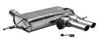 Endschalldämpfer mit Doppel-Endrohr mitte 2x Ø 76 mm, mit Abgasklappe für Fahrzeuge mit Original-Endschalldämpfer mit Abgasklappe (inkl. Adapterkabel)
