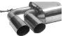 Endschalldämpfer mit Doppel-Endrohr 2 x Ø 76 mm 20°  schräg geschnitten Altea 5P + Leon 1P