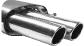 Endschalldämpfer mit Doppel-Endrohr 2 x Ø 76 mm eingerollt, 20 ° schräg geschnitten