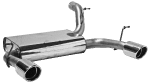 Endschalldämpfer querliegend mit Einfach-Endrohr LH + RH 1 x Ø 90 mm, 20° schräg geschnitten
