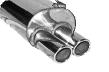 Endschalldämpfer mit Doppel-Endrohr 2 x Ø 76 mm eingerollt, 20° schräg geschnitten