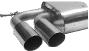 Endschalldämpfer mit Doppel-Endrohr 2 x Ø 76 mm 20°schräg geschnitten