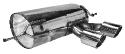 Endschalldämpfer mit Doppel-Endrohr, 2 x Ø 90 mm, Ausgang Mitte