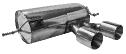 Endschalldämpfer mit Doppel-Endrohr, 2 x Ø 100 mm, Ausgang Mitte (im RACE-Look)