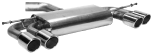 Endschalldämpfer mit Doppel-Endrohr LH + RH, 2 x Ø 76 mm mit Lippe, 20° schräg geschnitten