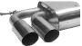 Endschalldämpfer mit Doppel-Endrohr 2 x Ø 76 mm 20° schräg geschnitten